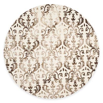 Safavieh Dip Dye Damask Stripe 7-Foot Round Area Rug in Ivory/Chocolate