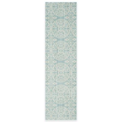 Safavieh Valencia Medallion 2-Foot 3-Inch x 12-Foot Runner in Green/Ivory
