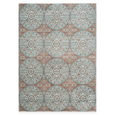 Safavieh Valencia Medallion 5-Foot x 8-Foot Area Rug in Brown/Green