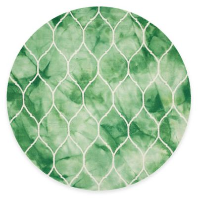 Safavieh Dip Dye Lattice 7-Foot Round Area Rug in Green/Ivory