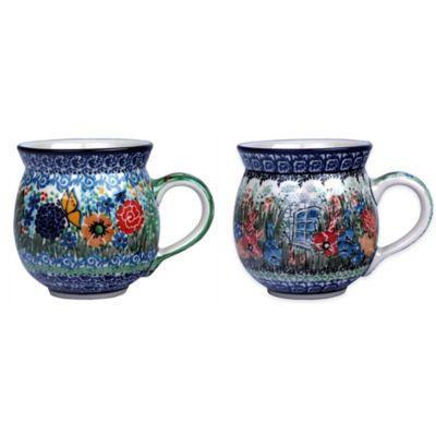 Polish Pottery Bubble Lady Mugs Dining
