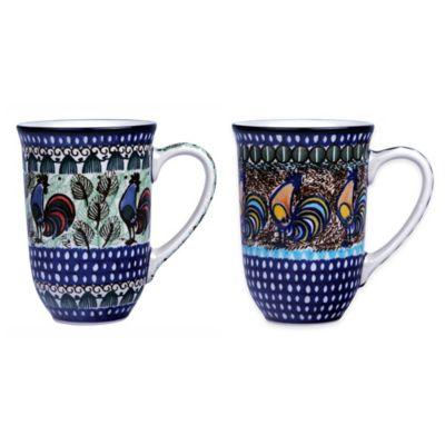 Ceramika Artystyczna Polish Pottery Bistro Mugs in Blue (Set of 2)