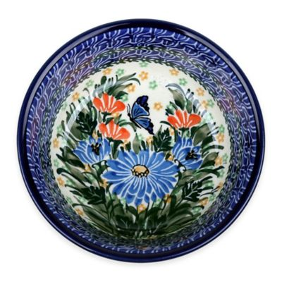 Polish Pottery Cereal Bowls in Blue (Set of 2)