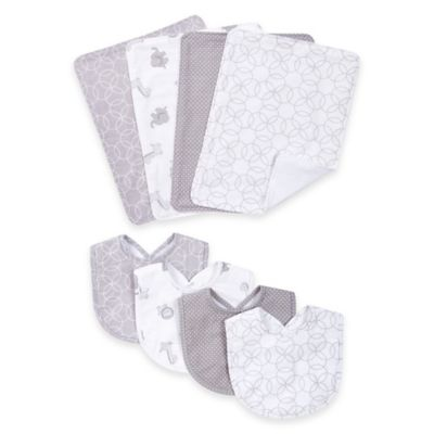 Trend Lab® 8-Piece Circles Bib and Burp Cloth Set in Grey/White