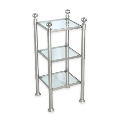 3-Shelf Small Steel and Glass Storage Unit in Pewter