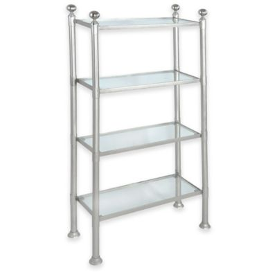 4-Shelf Large Steel and Glass Storage Unit in Pewter