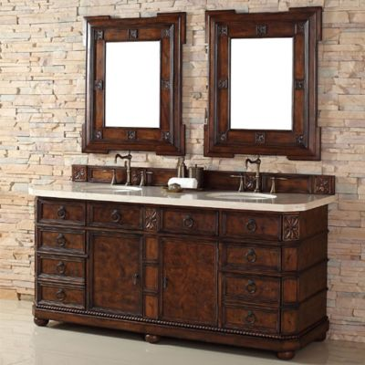 James Martin Furniture Regent 72-Inch Double Vanity with Wood Top in English Burl