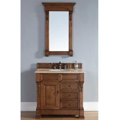 James Martin Furniture Brookfield Single Vanity with Galala Beige Stone Top in Oak w/Drawers