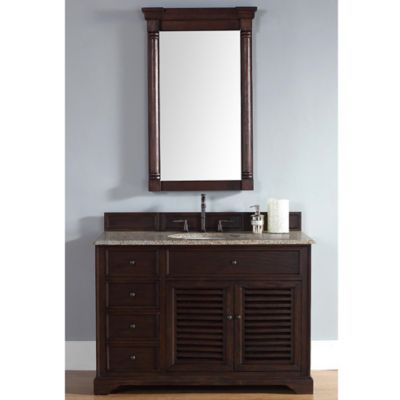 James Martin Furniture Savannah Single Vanity with Santa Cecilia Stone Top in Sable