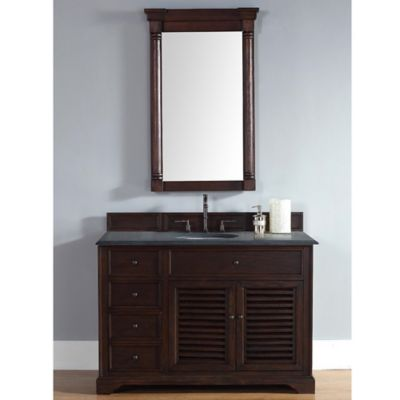 James Martin Furniture Savannah 48-Inch Single Vanity with Black Rustic Stone Top in Sable