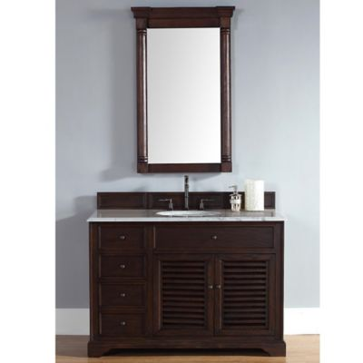 James Martin Furniture Savannah Single Vanity with Carrara White Stone Top in Sable