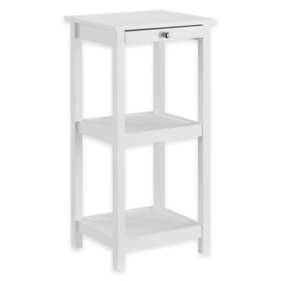 Shutter 3-Tier Wood Tower with Pull-Out Shelf in White