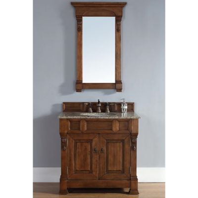 James Martin Furniture Brookfield Single Vanity with Santa Cecilia Stone Top in Country Oak
