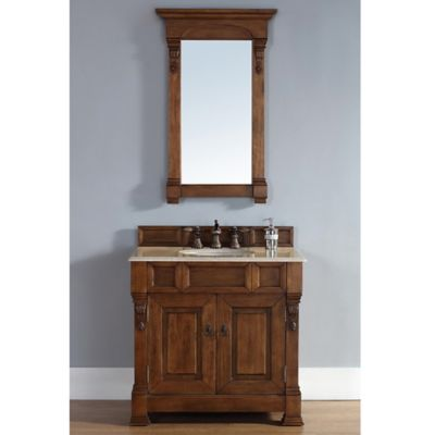 James Martin Furniture Brookfield Single Vanity with Galala Beige Stone Top in Country Oak