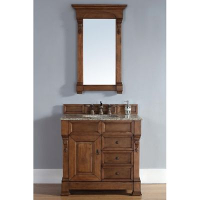 James Martin Furniture Brookfield Single Vanity with Santa Cecilia Top in Oak with Drawers