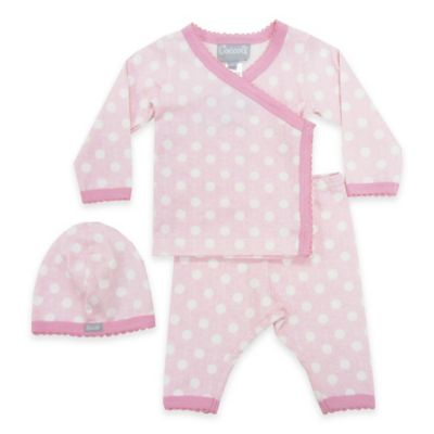 Coccoli Size 3M 3-Piece Star Kimono Top, Footless Pant, and Hat Set in Pink