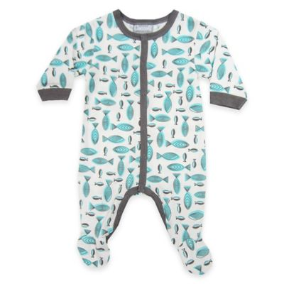 Coccoli Size 0-1 Fish Snap-Front Footie in Grey/Blue