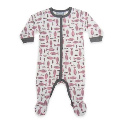 Coccoli Size 0-1M Fish Snap-Front Footie in Grey/Pink