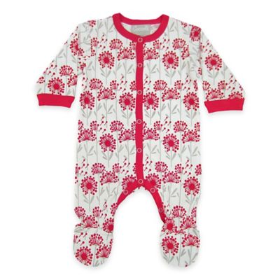 Coccoli Size 0-1M Floral Snap-Front Footie in Grey/Red
