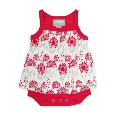 Coccoli Sleeveless Size 0-1M Floral Babydoll Bodysuit in Red/Grey