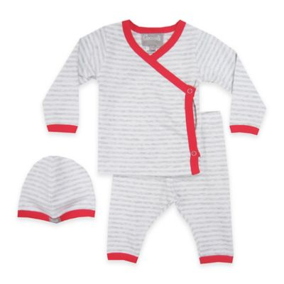 Coccoli Size 3M 3-Piece Stripe Kimono Top, Footless Pant, and Hat Set in Grey/Red