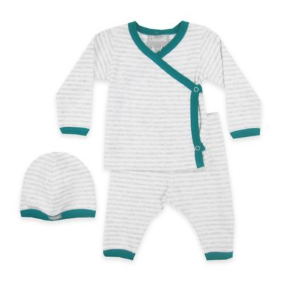 Coccoli Newborn 3-Piece Stripe Kimono Top, Footless Pant, and Hat Set in Grey/Green