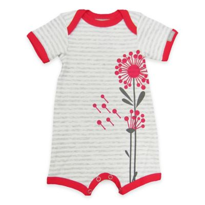 Coccoli Size 0-1M Flower Short Sleeve Romper in Grey/Red