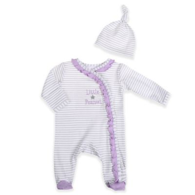 """Sterling Baby Preemie 2-Piece """"Little Peanut"""" Snap-Front Footie and Hat Set in White/Lilac"""