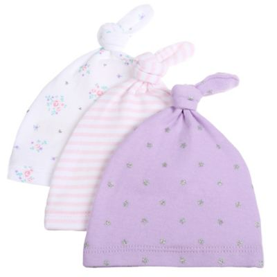 Sterling Baby Preemie 3-Pack Hats in Lilac/White