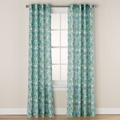 Chloe Print 108-Inch Grommet Window Curtain Panel in Aqua