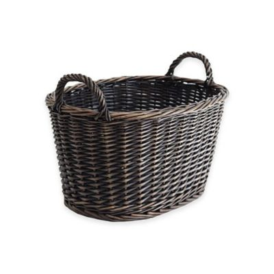 Lancaster Rectangular Willow Harvest Basket in Black/Brown