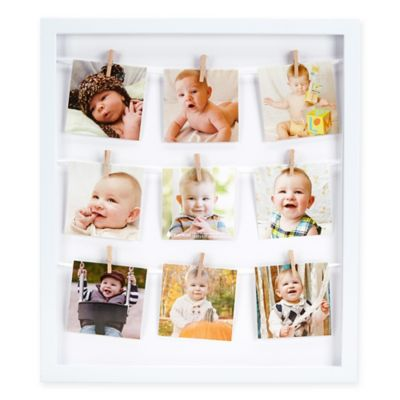 Pearhead® 9-Photo 3.25-Inch Clothespin Collage Frame in White
