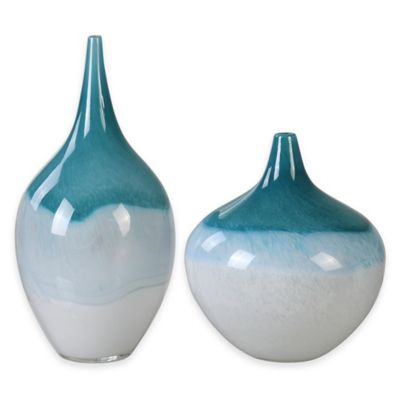Uttermost Carla Vases in Teal White (Set of 2)