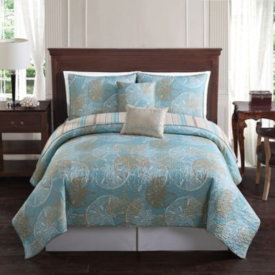 Sand Dollar Reversible King Quilt Set in Blue/Taupe