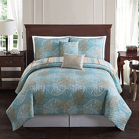 Buy Sand Dollar Reversible Twin Quilt Set In Blue Taupe