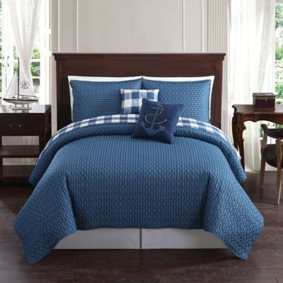 Bridgeport Reversible Full/Queen Quilt in Blue/Taupe