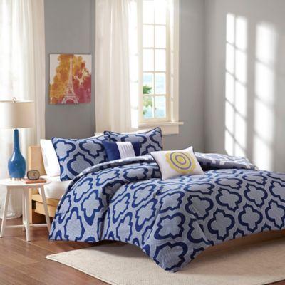 Intelligent Design Pilar 5-Piece Reversible Full/Queen Comforter Set in Aqua
