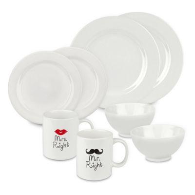 Mr. and Mr. Right 8-Piece Dinnerware Set