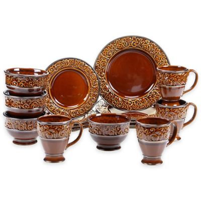 Certified International Solstice 16-Piece Dinnerware Set in Brown