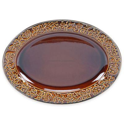 Certified International Solstice 16-Inch Oval Platter in Brown