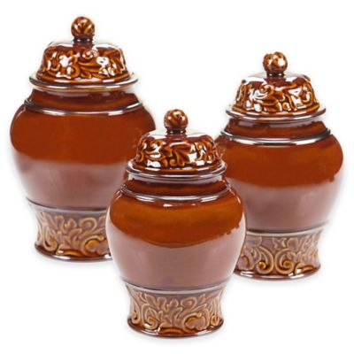 Certified International Solstice 3-Piece Canister Set in Brown