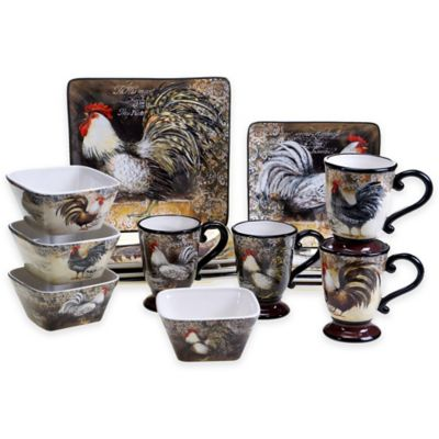 Certified International Vintage Rooster 16-Piece Dinnerware Set