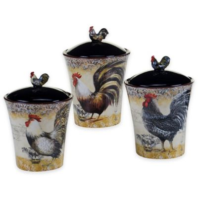 Certified International Vintage Rooster 3-Piece Canister Set