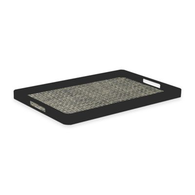 Kraftware™ Woven Onyx Handled Serving Tray in Black