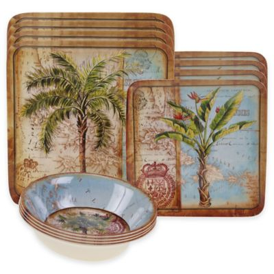 Certified International Antique Palms 12-Piece Dinnerware Set