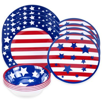 Certified International Stars and Stripes 12-Piece Dinnerware Set