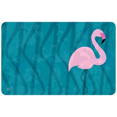 The Softer Side by Weather Guard™ 18-Inch x 27-Inch Blue Flamingo Kitchen Mat