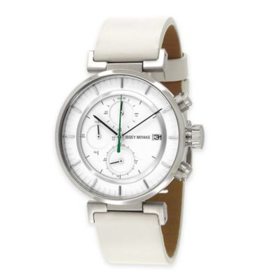 Issey Miyake Men's 43mm W Watch by Satoshi Wada in Stainless Steel w/Winter White Leather Strap