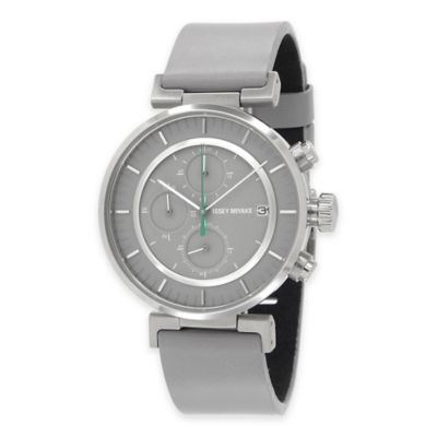 Issey Miyake Men's 43mm W Watch by Satoshi Wada in Stainless Steel w/Grey Leather Strap