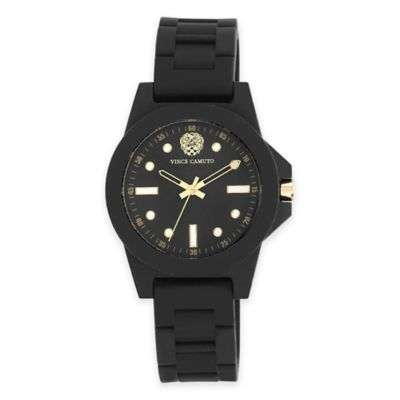Vince Camuto® Ladies' 38mm Goldtone-Accent Watch in Black Stainless Steel w/Black Silicone Strap
